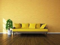 Sitio con el sofá y una planta Fotografía de archivo