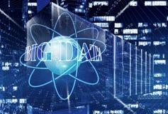Sitio con filas del hardware del servidor en el globo del mundo del centro de datos en azul Conexiones de red global, libre illustration