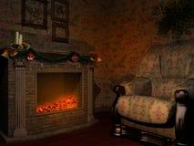 Sitio con la chimenea y la butaca Imagen de archivo