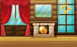 Sitio con la chimenea y la cortina roja ilustración del vector