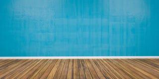 Sitio con la pared azul concreta y el ejemplo de madera del piso 3D imágenes de archivo libres de regalías