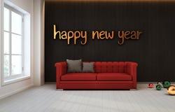 Sitio con la pared negra y el sofá rojo, Feliz Año Nuevo Foto de archivo libre de regalías