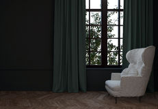 Sitio con la silla y las cortinas Imágenes de archivo libres de regalías
