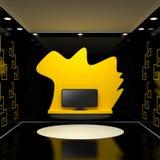 Sitio con la TV y las paredes negras Fotografía de archivo libre de regalías