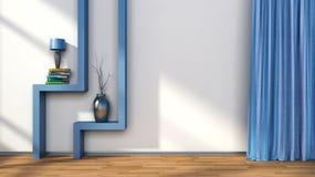Sitio con las cortinas azules y estante con la lámpara ilustración 3D Foto de archivo libre de regalías
