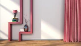 Sitio con las cortinas rojas y estante con la lámpara ilustración 3D Imagen de archivo