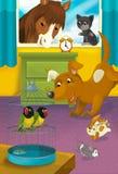Sitio con los animales - ejemplo de la historieta para los niños Fotografía de archivo libre de regalías