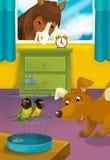 Sitio con los animales - ejemplo de la historieta para los niños Imagen de archivo libre de regalías