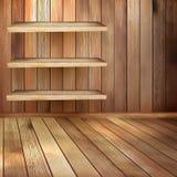 Sitio con los shelfs y el piso de madera. EPS 10 stock de ilustración