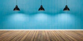 Sitio con tres lámparas, la pared azul concreta y el ejemplo de madera del piso 3D imágenes de archivo libres de regalías