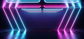Sitio concreto futurista de ne?n vibrante fluorescente Hall Studio del piso del Grunge del t?nel cibern?tico azul p?rpura de la r stock de ilustración