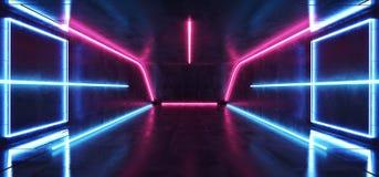 Sitio concreto futurista de ne?n vibrante fluorescente Hall Studio del piso del Grunge del t?nel cibern?tico azul p?rpura de la r ilustración del vector