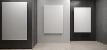 Sitio concreto realista con los carteles blancos en las paredes stock de ilustración