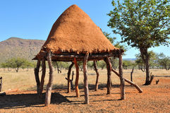 Sitio de almacenaje del alimento de Ovahimba en los zancos Imagen de archivo libre de regalías