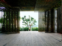 Sitio de bambú del espacio de la pared Imagenes de archivo