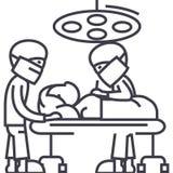 Sitio de hospital con los doctores, línea icono, muestra, ejemplo del vector de la operación de la cirugía en el fondo, movimient libre illustration