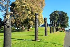 Sitio de la batalla de PA de la puerta, Nueva Zelanda Tallas conmemorativas imagen de archivo libre de regalías