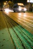 Sitio de la construcción de carreteras con asfalto Fotografía de archivo libre de regalías