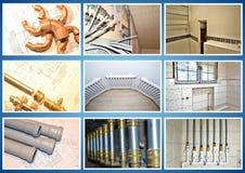 Sitio de la fontanería collage foto de archivo