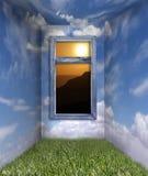 Sitio de la nube y del cielo de la fantasía con una vista de la salida del sol Fotos de archivo libres de regalías