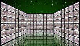 Sitio de la pared del bloque de cristal en el cielo nocturno Fotografía de archivo libre de regalías