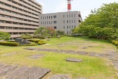 Sitio de la torre del homenaje anterior del castillo de Fukui en Fukui, Japón Fotografía de archivo