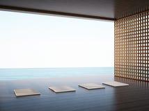 Sitio de la yoga del zen en el espacio de las zonas costeras Fotografía de archivo