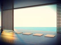 Sitio de la yoga del zen en el espacio de las zonas costeras Fotos de archivo