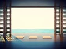 Sitio de la yoga del zen en el espacio de las zonas costeras Foto de archivo libre de regalías