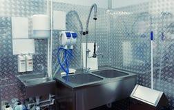 Sitio de lavado moderno del plato, entonado Fotografía de archivo