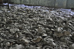 Sitio de los gasmasks polvorientos Pripyat Chernóbil Ucrania fotos de archivo