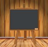 Sitio de madera con la pizarra ilustración del vector