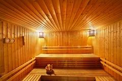 Sitio de madera de la sauna Fotos de archivo libres de regalías