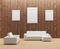 Sitio de madera interior con el sofá y la foto blancos del marco en el ejemplo 3D Fotografía de archivo