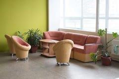 Sitio de moda con los sofás y butacas y plantas imagen de archivo libre de regalías
