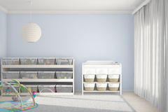 Sitio de niños con los juguetes azules Fotos de archivo libres de regalías