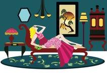 Sitio del art déco con la mujer que se sienta en el sofá ilustración del vector