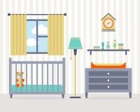 Sitio del bebé con muebles Foto de archivo