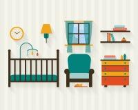 Sitio del bebé con muebles Fotos de archivo libres de regalías
