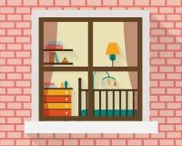 Sitio del bebé a través de la ventana Foto de archivo libre de regalías
