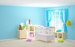 Sitio del bebé con los estantes del piso Imágenes de archivo libres de regalías