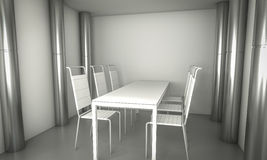 Sitio del comensal de Domestic.Clean, sillas y tabla blanca sobre el SP limpio Imagenes de archivo