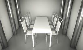 Sitio del comensal de Living.Clean, sillas y tabla blanca sobre spac limpio Fotos de archivo