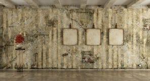 Sitio del Grunge con la pared vieja ilustración del vector