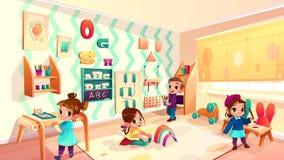 Sitio del montessori del vector con los niños que juegan a juegos libre illustration