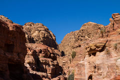 Sitio del patrimonio mundial de la UNESCO del Petra, de Jordania y una de las nuevas 7 maravillas del mundo. Foto de archivo libre de regalías