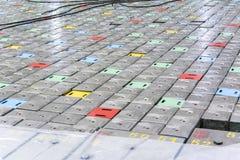 Sitio del reactor Tapa del reactor nuclear, mantenimiento de equipo y reemplazo de los elementos combustibles del reactor imagen de archivo