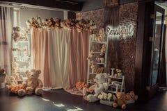 Sitio del ` s de los niños con las decoraciones fotografía de archivo libre de regalías