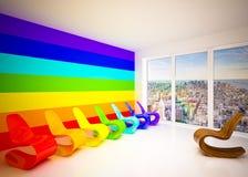 Sitio del salón en colores del arco iris Fotos de archivo
