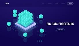 Sitio del servidor, datos grandes, nube que computa, inteligencia artificial ai, procesando datos, base de datos, concepto del bl libre illustration